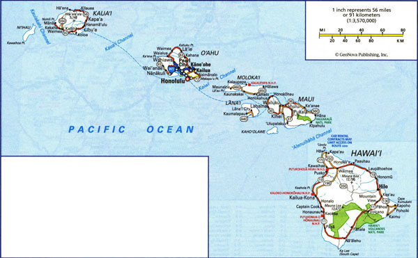 Large road map of Hawaii Islands with all cities and villages.