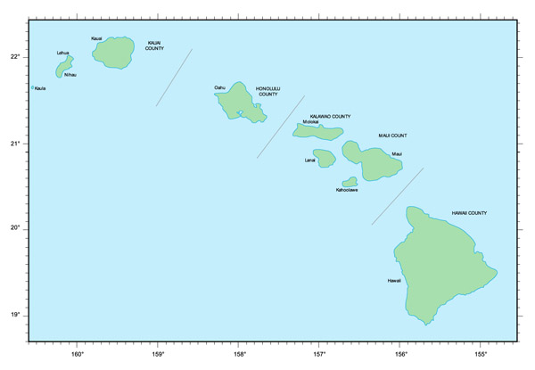 Map of Hawaii Islands. Hawaii Islands map.