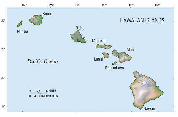 Map of Hawaii state. Hawaii state map.