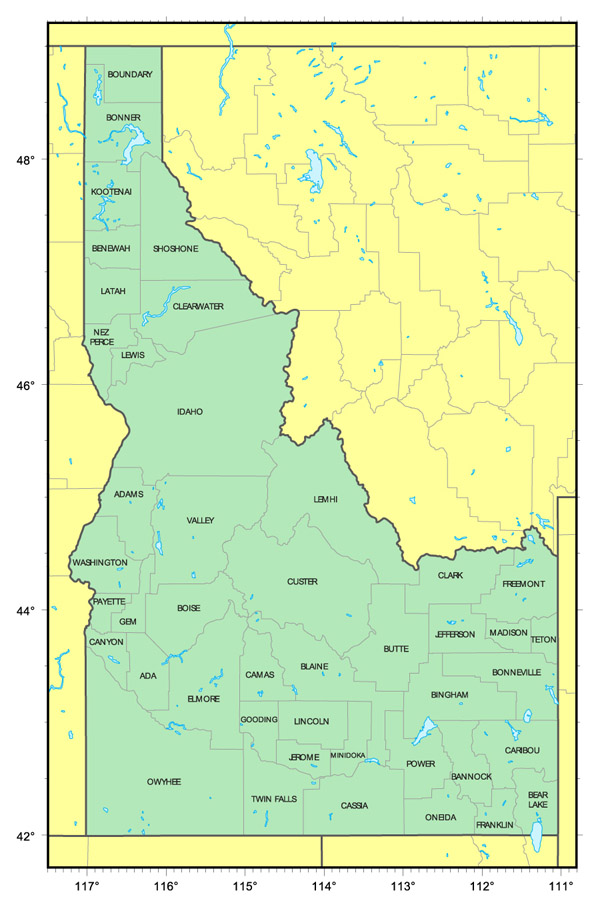 Administrative map of Idaho state. Idaho state administrative map.