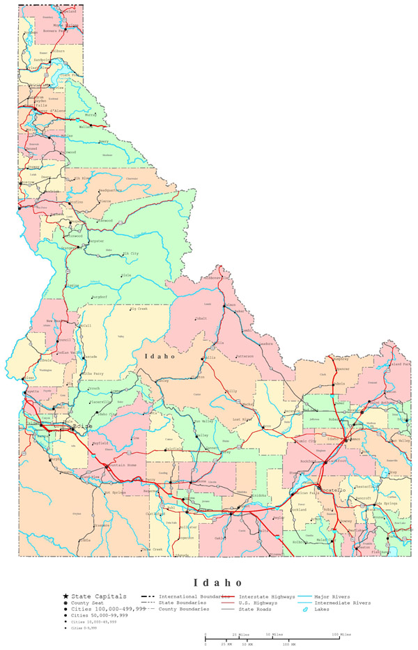 Detailed administrative map of Idaho with roads, highways and major cities.