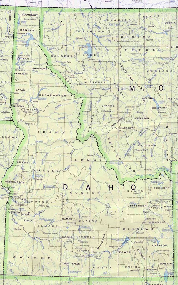Detailed map of Idaho state. Idaho state detailed map.