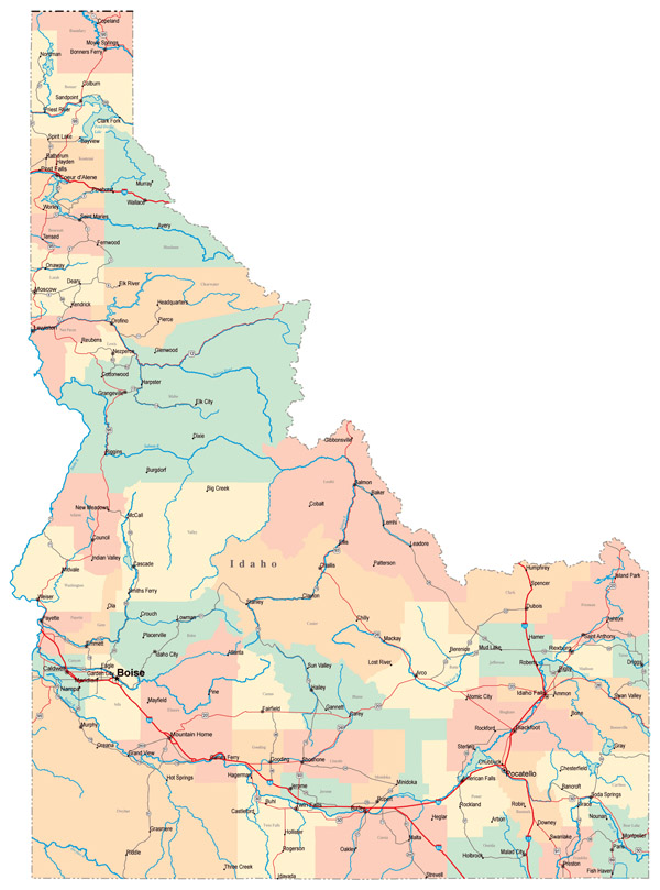 Large administrative map of Idaho state with roads and cities.
