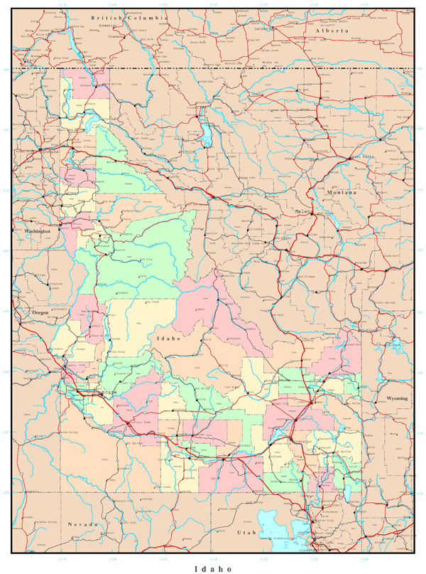 Large administrative map of Idaho with roads, highways and major cities.