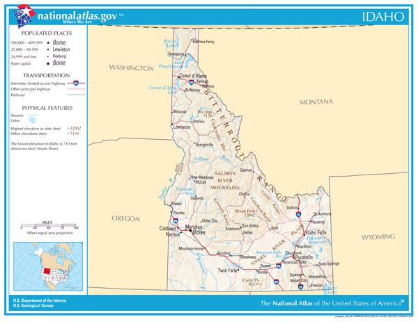 Large detailed map of Idaho state. Idaho state large detailed map.
