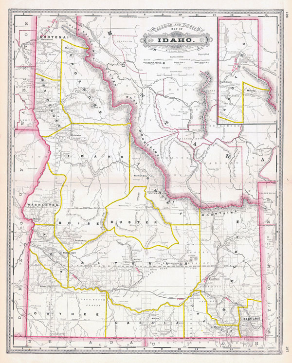 Large detailed old administrative map of Idaho state - 1887.