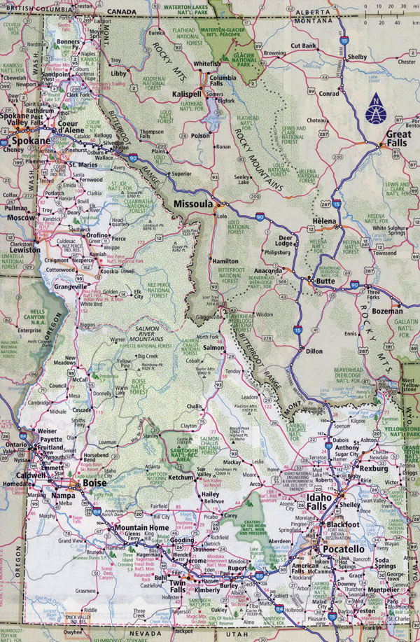 Large detailed roads and highways map of Idaho state with all cities.
