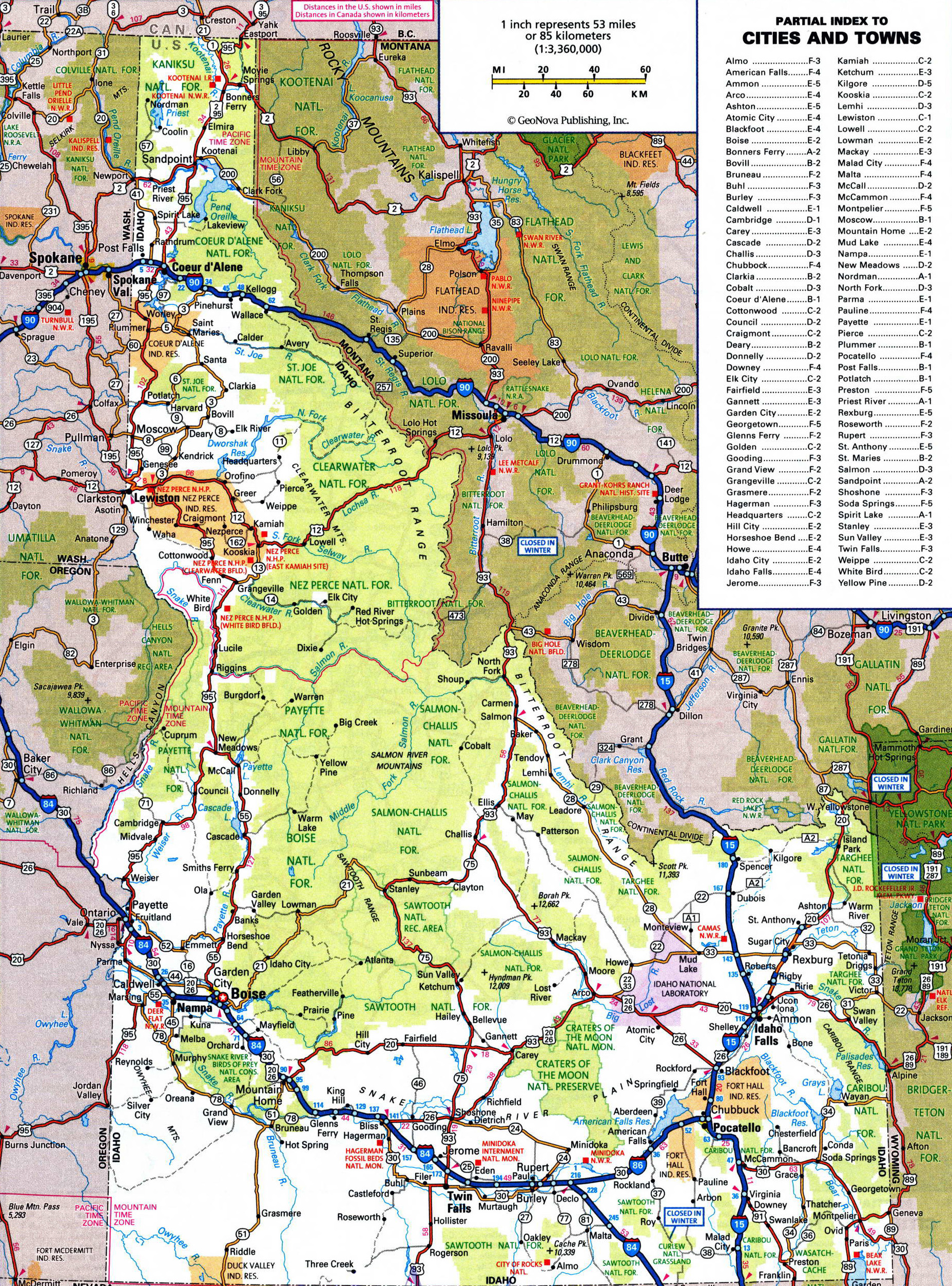 Large Detailed Roads And Highways Map Of Idaho State With All Cities