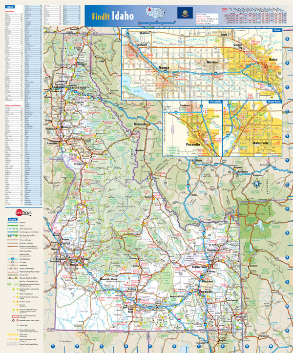Large detailed roads and highways map of Idaho state with all cities and villages.