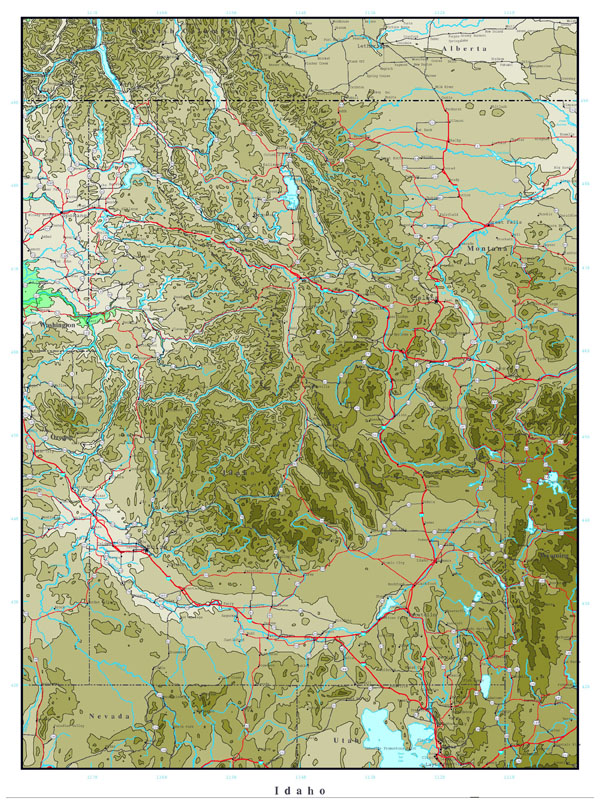 Large printable elevation map of Idaho state.
