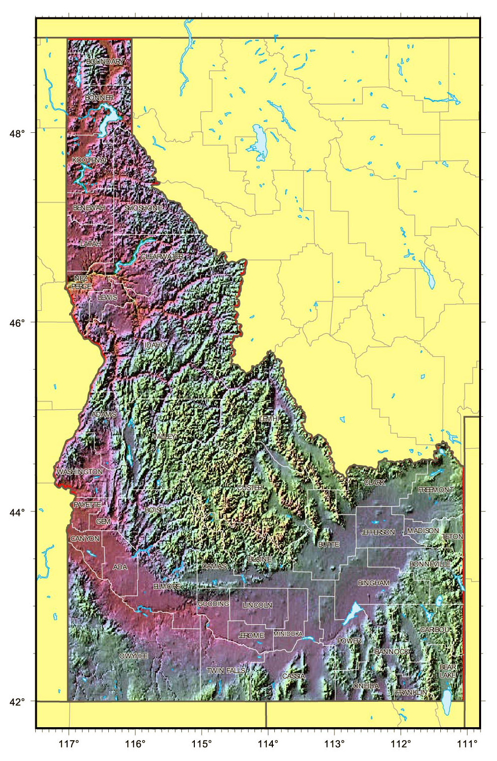 Relief map of Idaho state. Idaho state relief map | Vidiani.com ...