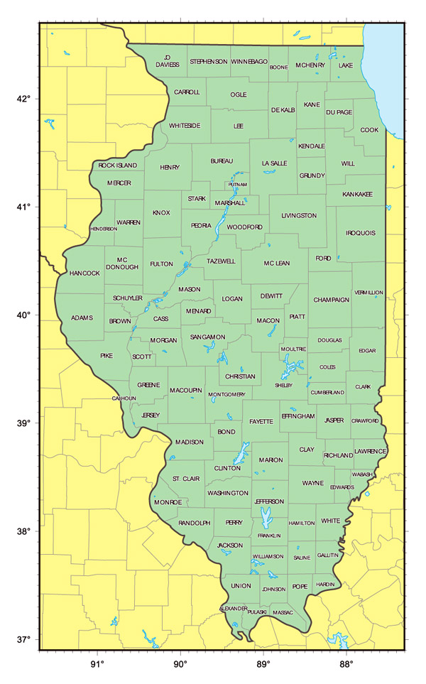 Administrative map of Illinois state.
