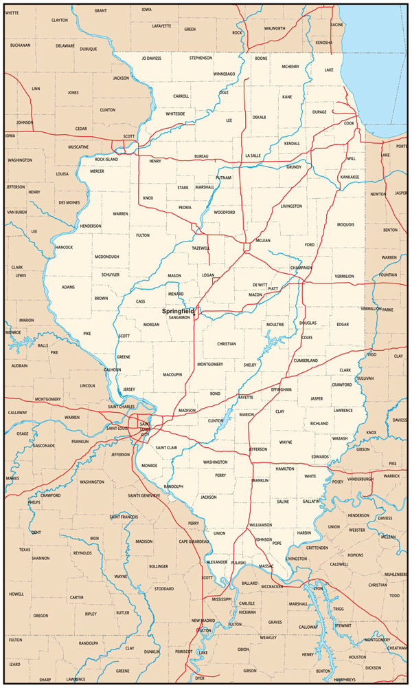 Detailed administrative map of Illinois state.