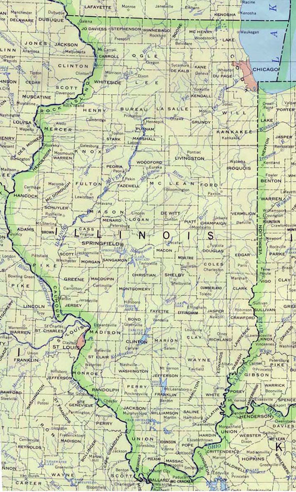 Detailed map of Illinois state. Illinois state detailed map.