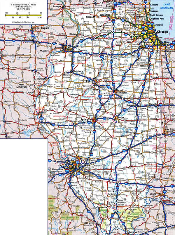 Large detailed roads and highways map of Illinois state with cities.
