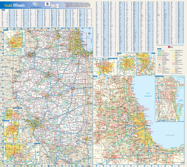 Large detailed roads and highways map of Illinois state with cities and villages.