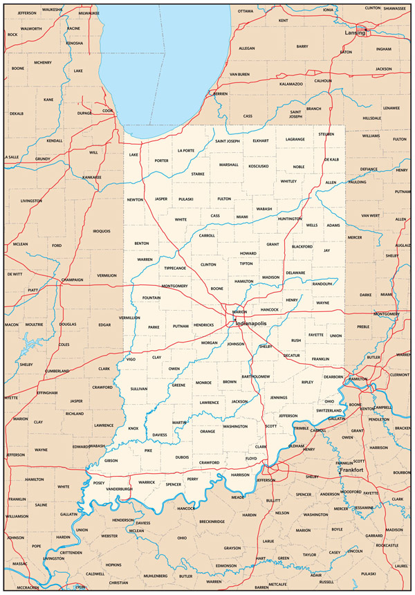 Detailed administrative map of Indiana state.