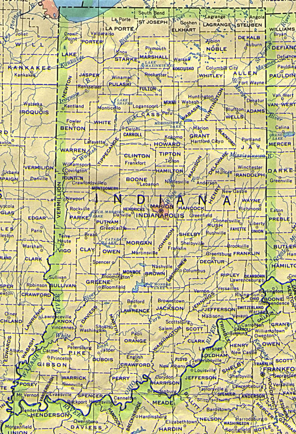 Detailed map of Indiana state. Indiana state detailed map.