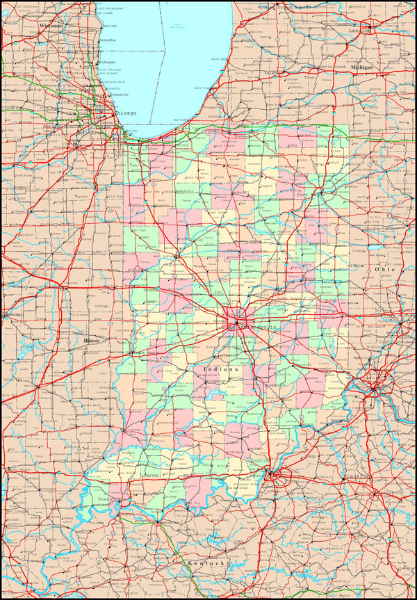 Large detailed administrative map of Indiana state with roads, highways and all cities.
