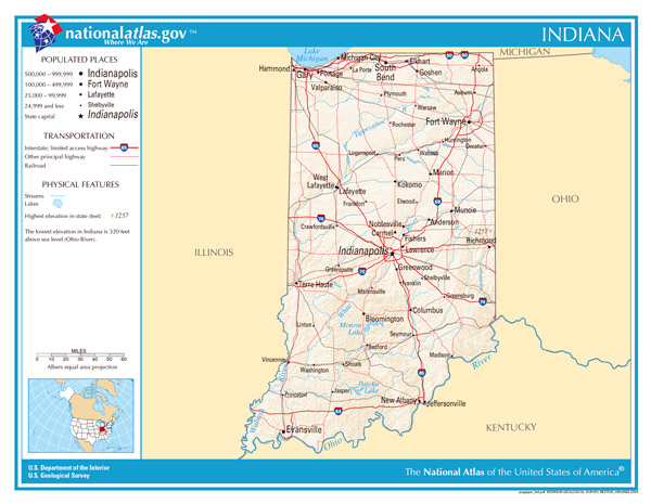 Large detailed map of Indiana state. Indiana state large detailed map.