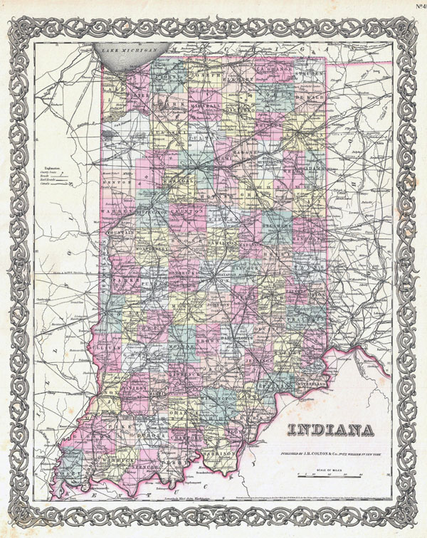 Large detailed old administrative map of Indiana state - 1855.