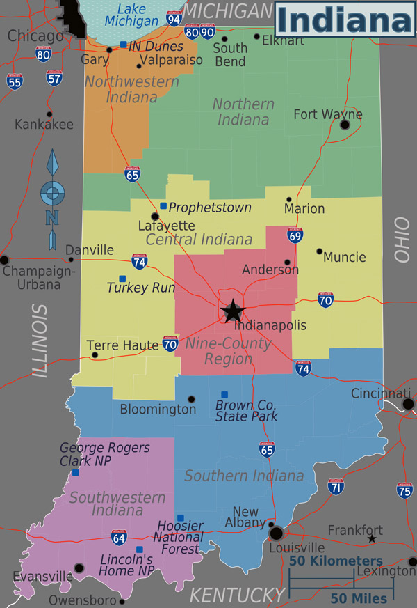 Large detailed regions map of Indiana state.
