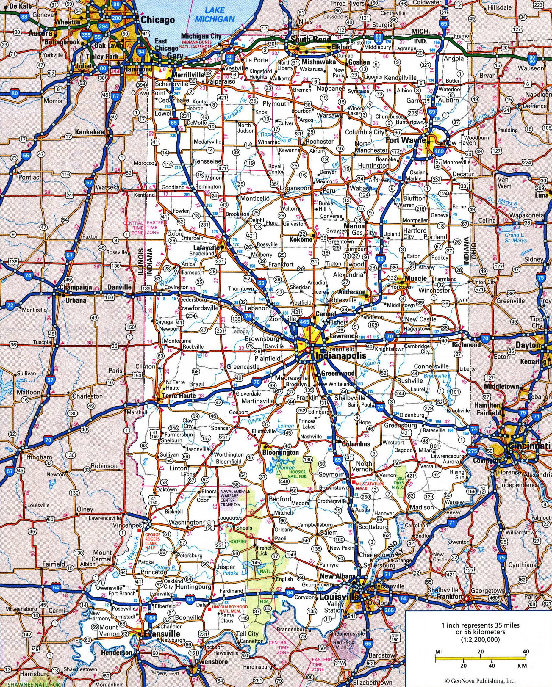 Highway Map Of Indiana Large detailed roads and highways map of Indiana state with all