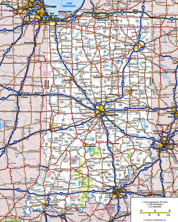 Large detailed roads and highways map of Indiana state with all cities.