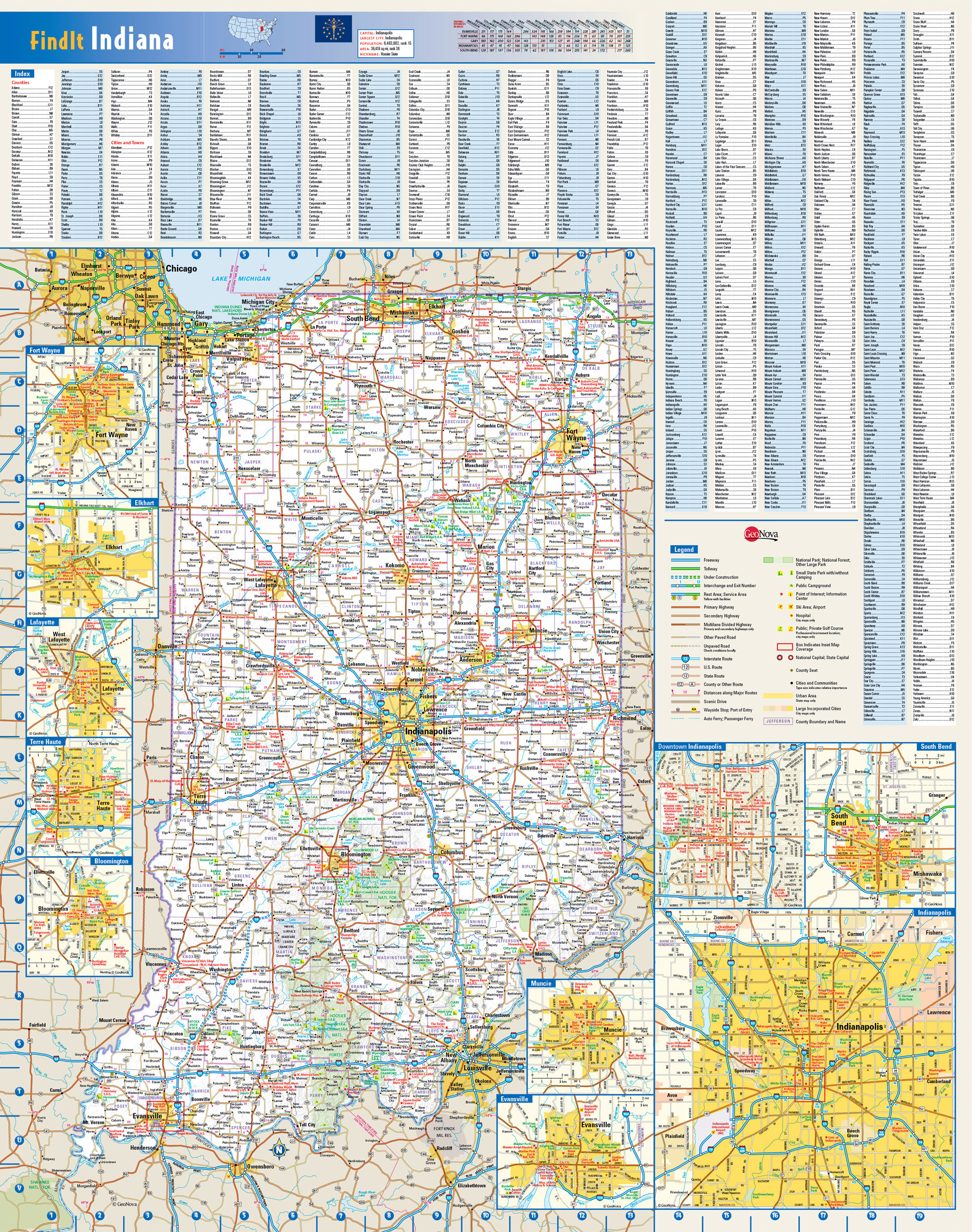 Large Detailed Roads And Highways Map Of Indiana State With All - Indiana state map with cities
