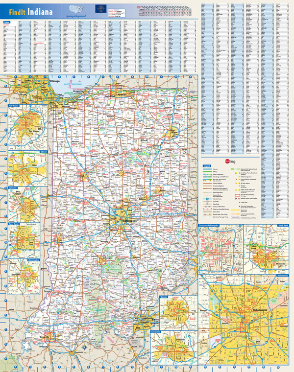 Large detailed roads and highways map of Indiana state with all cities and villages.