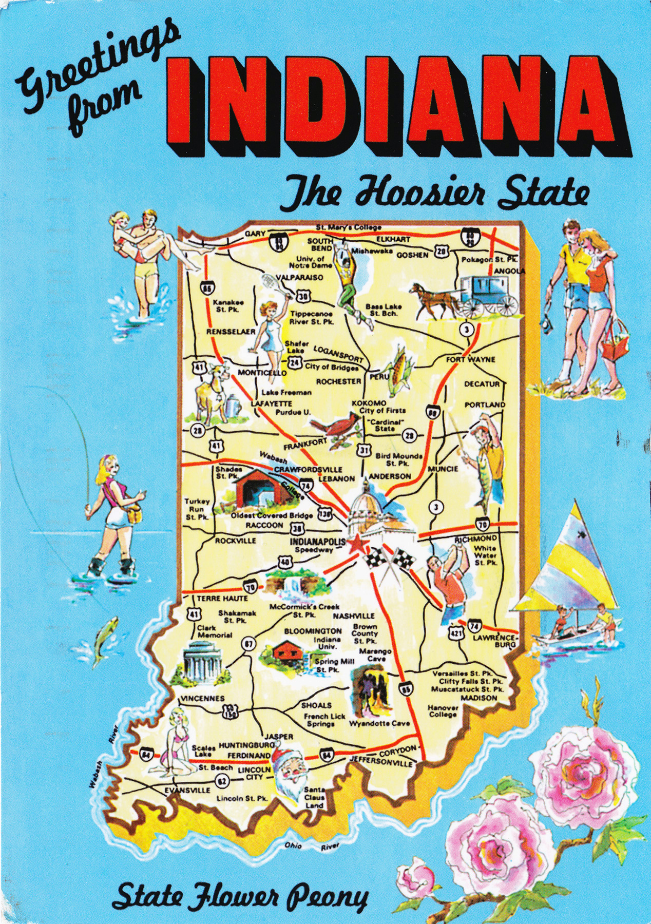 Large Detailed Tourist Illustrated Map Of Indiana State Vidiani - Indiana maps with cities
