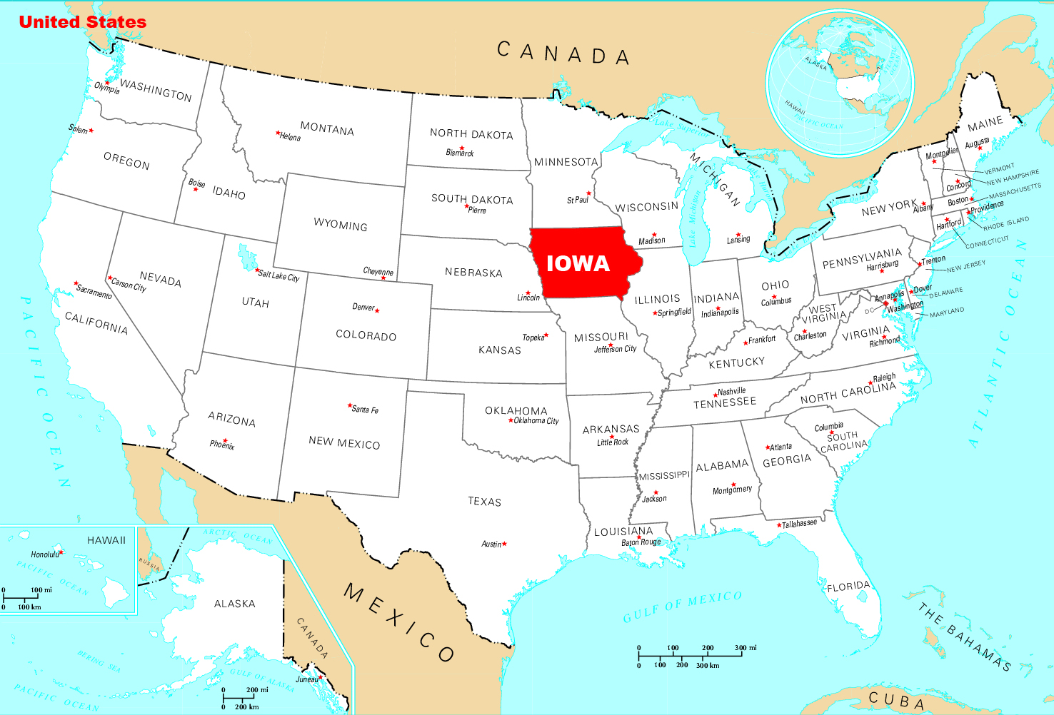 Detailed location map of Iowa state. Iowa state detailed location ...
