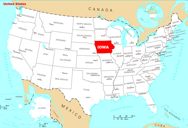 Detailed location map of Iowa state.