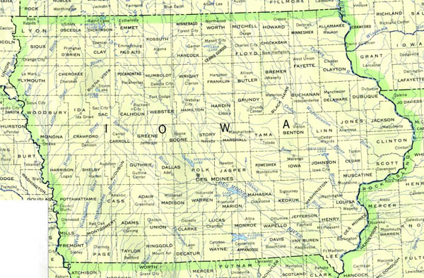 Detailed map of Iowa state. Iowa state detailed map.