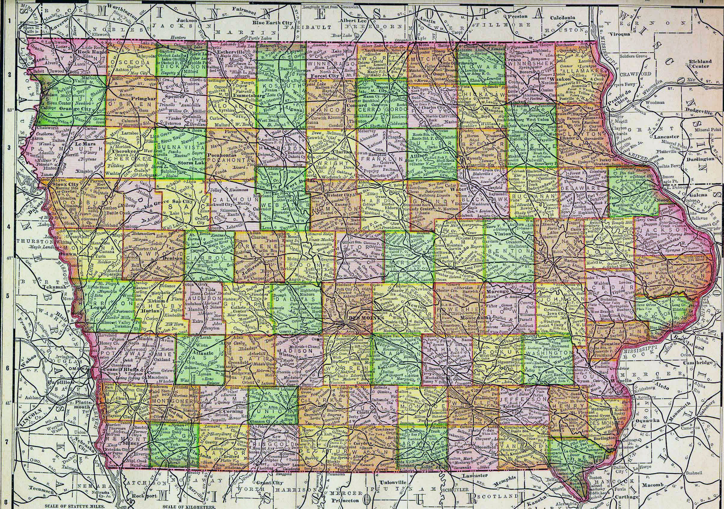 Detailed Old Administrative Map Of Iowa With Roads And Cities 1895