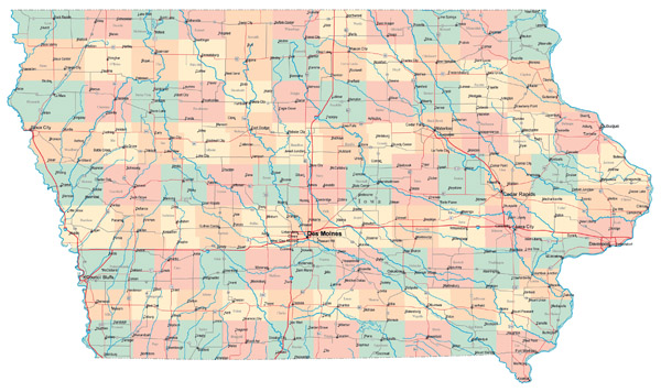 Large administrative map of Iowa state with roads and major cities.