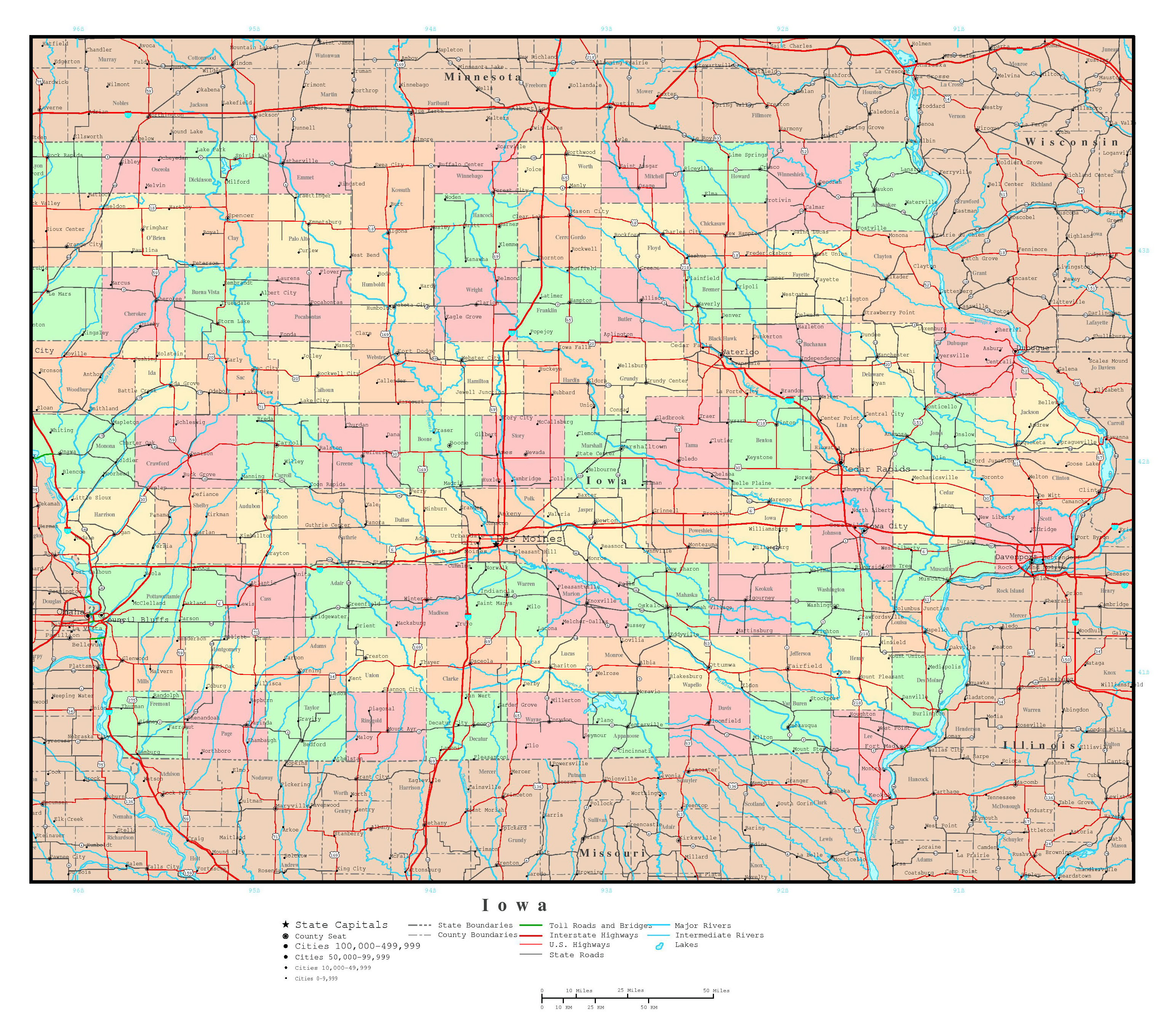 Large detailed administrative map of Iowa state with roads and all ...