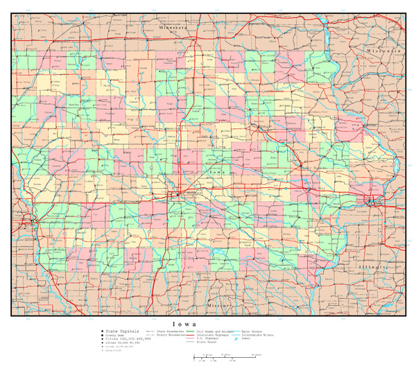 Large detailed administrative map of Iowa state with roads and all cities.