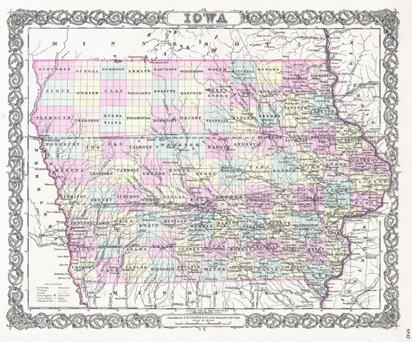 Large detailed old administrative map of Iowa state - 1855.