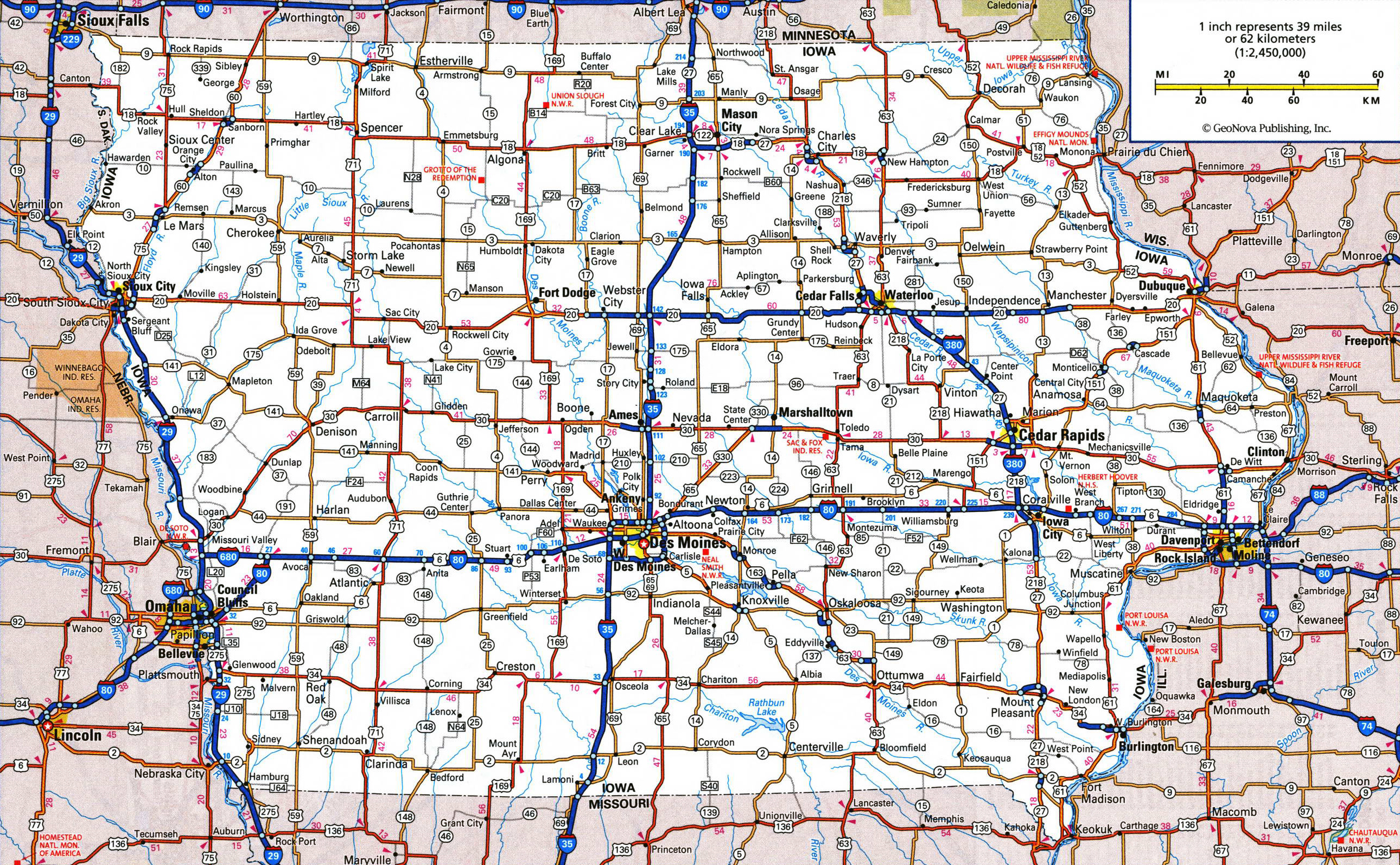 Large Detailed Roads And Highways Map Of Iowa State With All Cities
