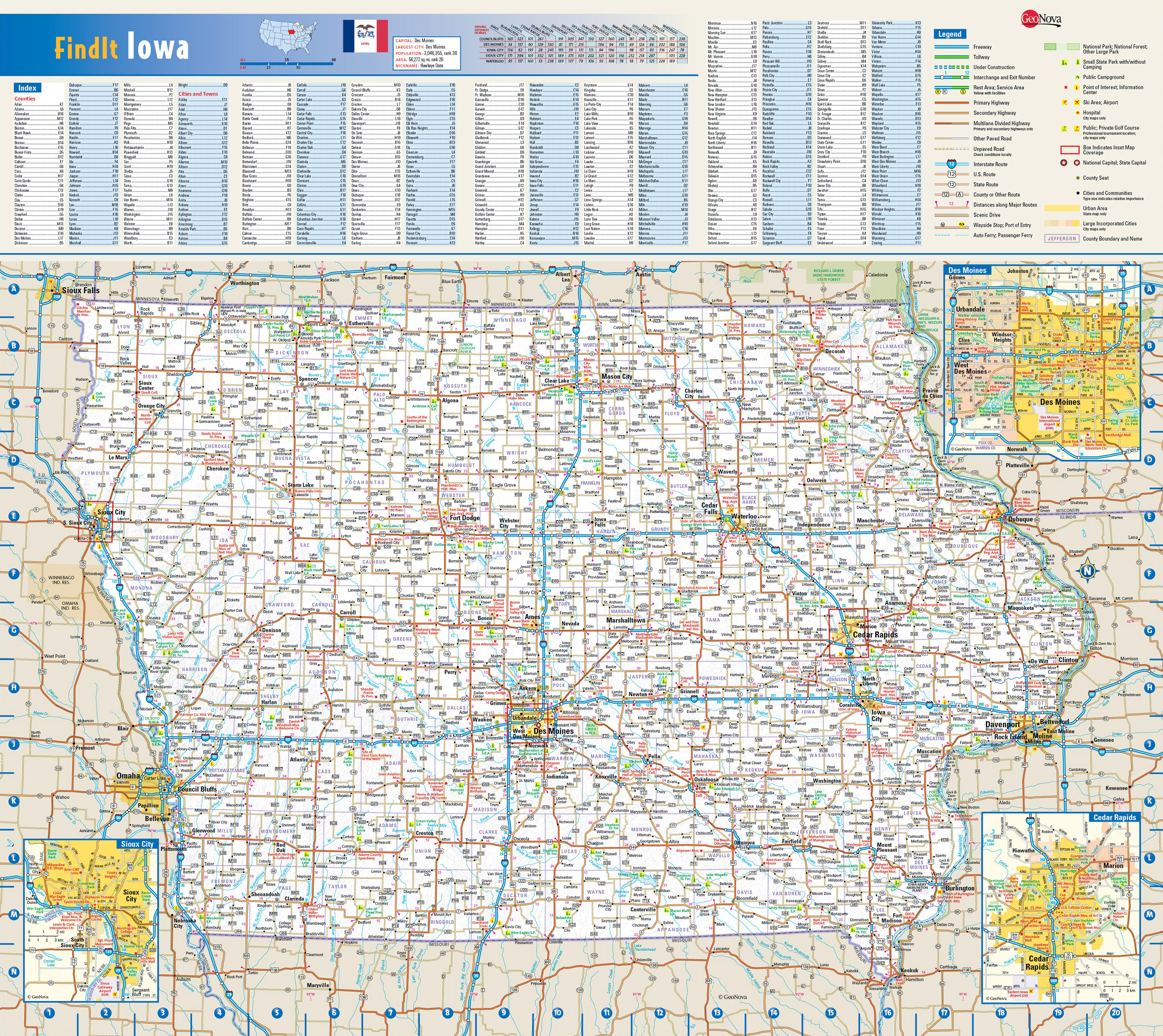 Large Detailed Roads And Highways Map Of Iowa State With All - Detailed map of iowa