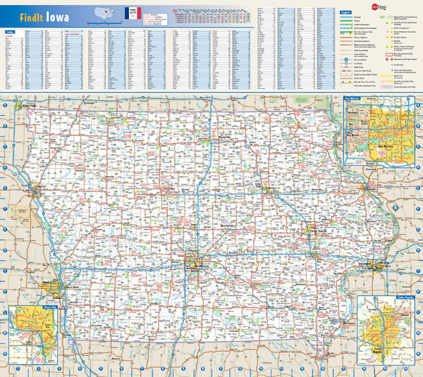 Large detailed roads and highways map of Iowa state with all cities and villages.