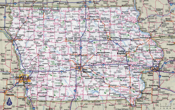 Large detailed roads and highways map of Iowa state with cities.