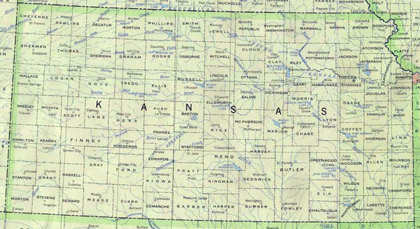 Detailed map of Kansas state. Kansas state detailed map.