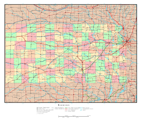 Large detailed administrative map of Kansas state with highways and cities.