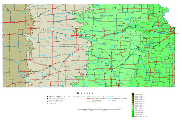 Large detailed elevation map of Kansas state with highways and major cities.