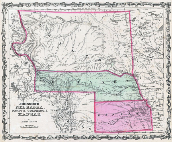 Large detailed old map of Kansas, Nebraska and Dakota - 1862.