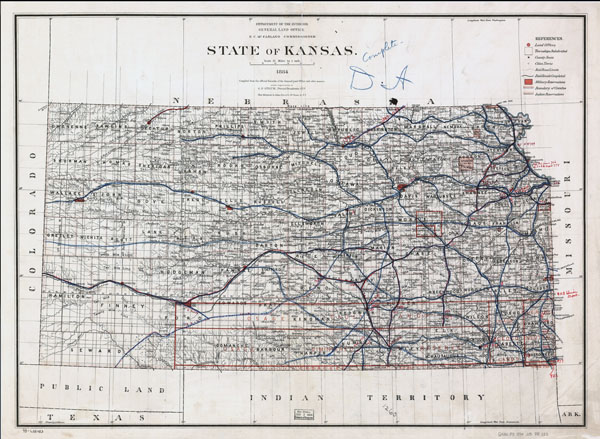Large detailed old railroads map of Kansas state.