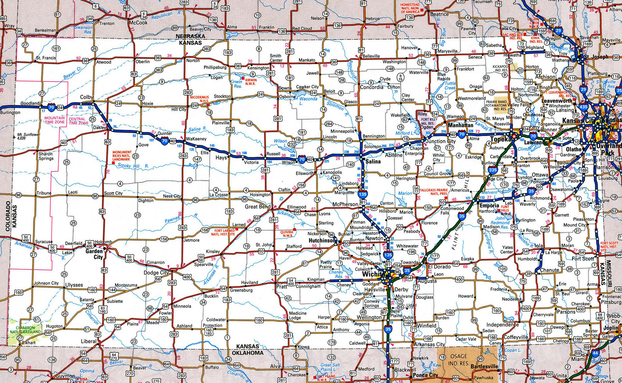 Large Detailed Roads And Highways Map Of Kansas State With All - Map of kansas