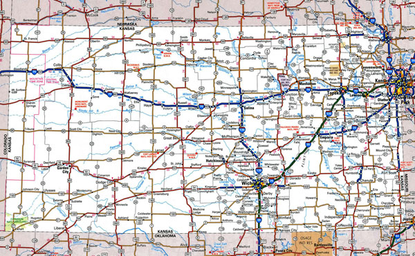 Large detailed roads and highways map of Kansas state with all cities.